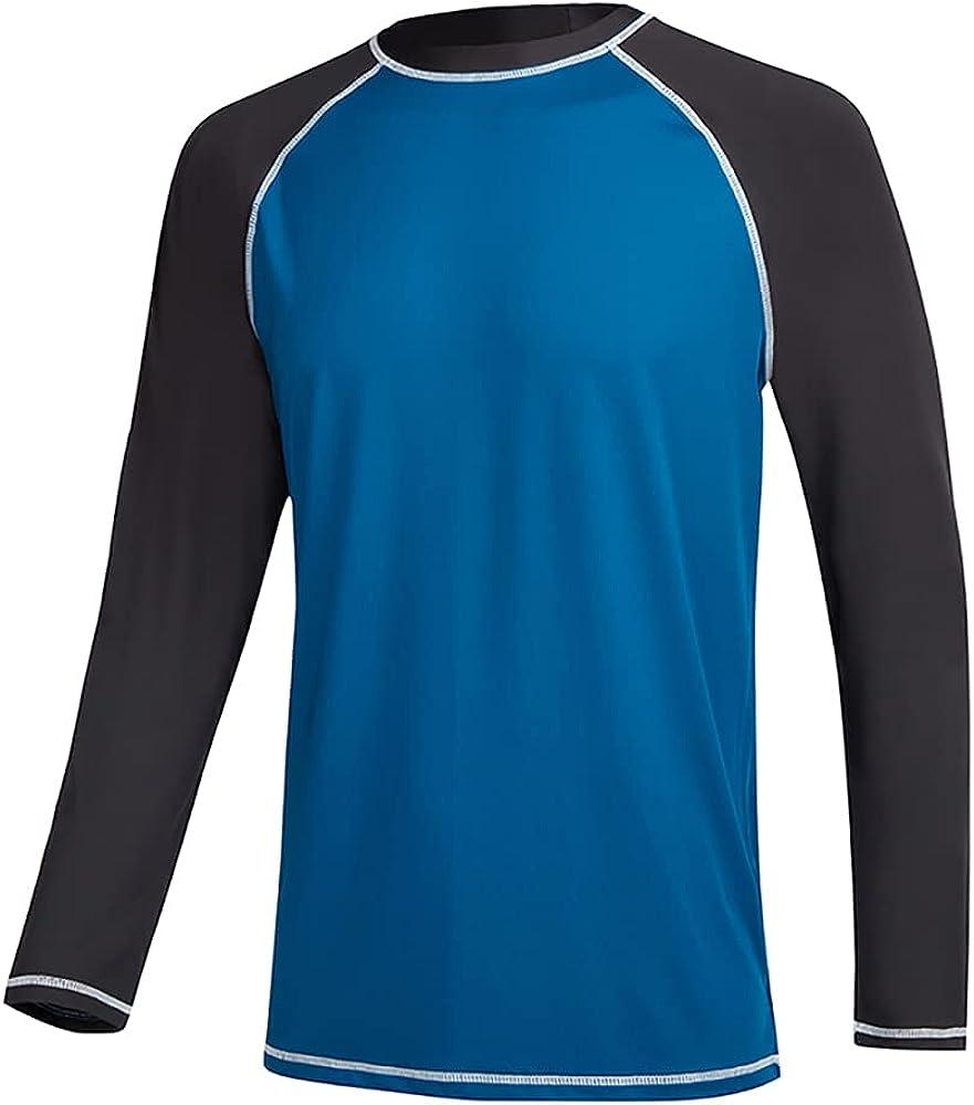 QRANSS Long Sleeve Swim Tshirt for Men Rash Guard Athletic Tee Skins UPF 50+