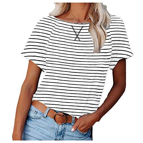 KYZRUIER 2021 NUEVO mujeres rayas impresión manga corta, casual raglán cuello redondo camisetas camisetas camisetas sueltas