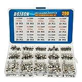 BOJACK 15 Valores 200 piezas Juego de surtido de fusibles de vidrio de fusión rápida 5x20mm 250V 1 5 10 15 20A 6x30mm 250V 1 2 3 5 6 7 8 10 15 20A Paquete de en una caja de plástico transparente