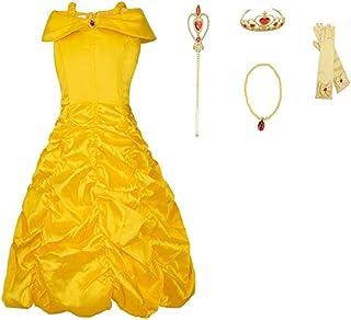 19ad95a6df178 FINDPITAYA Filles Belle Robe de Princesse Costume avec Bretelles  Déguisement de La Belle et La Bête