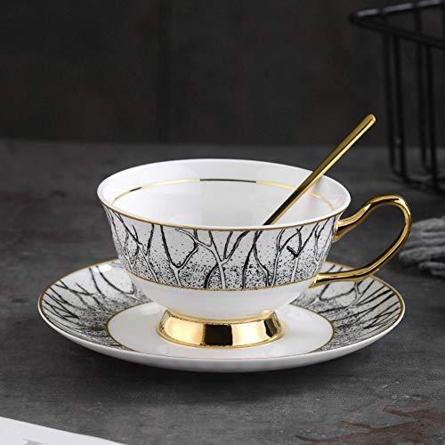 MSNLY Einfache europäische Art Kaffeetasse Kaffeetasse Set Stadtwald Kaffeetasse Untertasse Set europäischen Stil kleine Bone China Nachmittagstee Tasse nach Hause Keramik Blume Tee Tasse Tasse