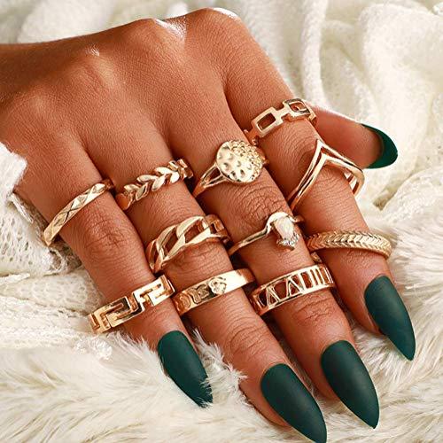Dusenly 11 Stück Damen Retro Mode Runde Diamant Ring Set Bohemian Stapelring für Frauen Mädchen