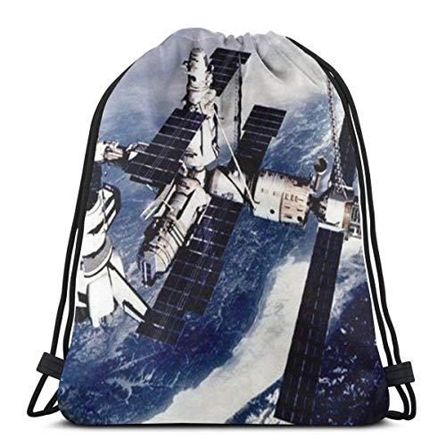 Space Orbital Station- Zaino da palestra e sport, con cordoncino, per adulti, escursionismo, bambini, in poliestere, per palestra, viaggio, design unico
