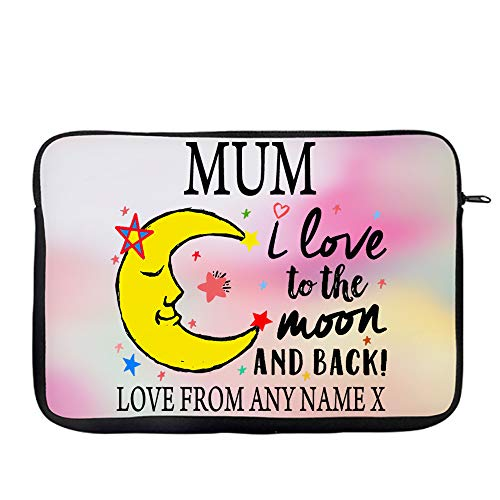 Personalised Mother's Day MUM I Love You To The Moon And Back Valentine Day Secret Santa Birthday Present Travel Bag Laptop Sleeve Unique Laptop Accessories. (9'-10')