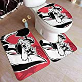 XCNGG Juego de alfombras de Tres Piezas Bath Mats 19.5x31.5in Bathtub Mats Set 3 Piece PePeLePew Bathroom Antiskid Pad Memory Foam Toilet Rug (Rectangular Carpet+UShaped Floor Mat+OShaped Lid Cover)