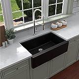 Karran Quartz Apron Front / Farmhouse Kitchen Sink 34 in. Single Bowl in Black