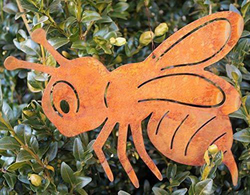 Rostalgie Edelrost Honigbiene zum Hängen 20 x 10 cm Garten Deko Biene