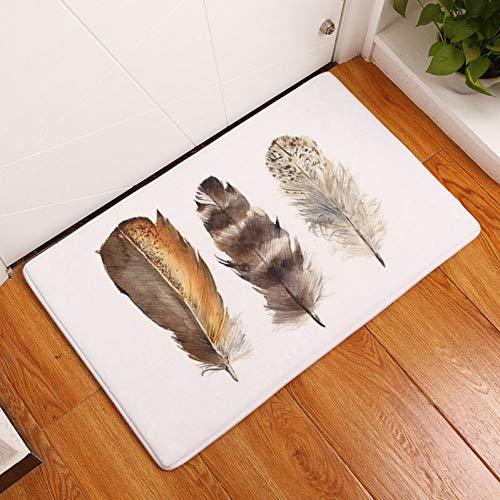 FORNCALO Tapijten Tapijten Home Decoratie Flanellen Matten Mooie Veer Deurmatten Digitale Gedrukt Ruimte Tapijt Keuken Anti-Slip Tapijt Badkamer Pad Matten