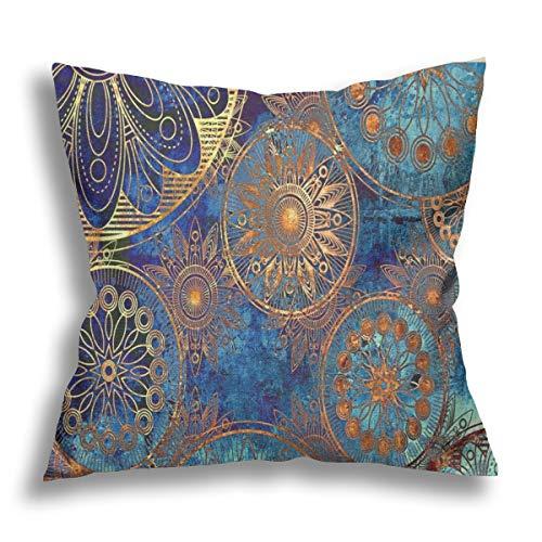 Funda de almohada de estilo bohemio étnico, de lino y algodón, con diseño de mandala, decorativa, para el hogar, sofá, cama, funda de cojín decorativa, 45,72 x 45,72 cm