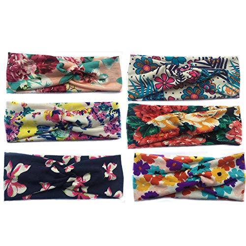 Vellette Damen Mädchen Stirnbänder Elastische Blume gedruckt Stirnband Frauen Baumwolle gestrickte Verdrehte weiche Turban-Kopf-Verpackungs für Yoga oder Mode 6Pcs