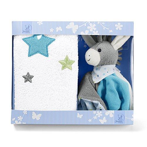 Sterntaler 9701731 Geschenk-Set Erik, Schmusetuch und Kinderhandtuch, Alter: ab 0 Monate, Grau/Blau