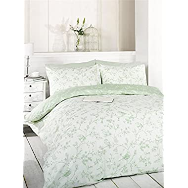 FLORAL BIRDS ON BRANCHES USA QUEEN SIZE (230CM X 220CM - UK KING SIZE) GREEN COTTON BLEND DUVET COMFORTER COVER