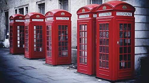 Puzzle-Cabina de teléfono roja Bricolaje, Juguetes educativos para niños, Juegos, Regalos de cumpleaños de Navidad 105x75cm
