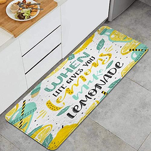 PANILUR Tappeto antiscivol,Disegno Giallo dell'agrume di Citazione di Ispirazione della Bevanda della Limonata della Bevanda dell'alimento dei Limoni del Succo Giallo della Foglia Disegnato