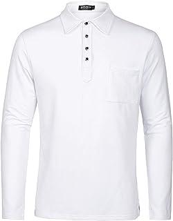 قمصان بولو بيضاء للرجال من Musen مصنوعة من القطن بمقاس كلاسيكي وأكمام قصيرة رياضية تي شيرت كاجوال بولو