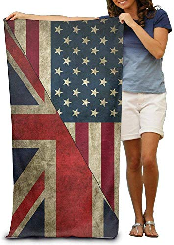 Houlipeng British American Flag Women's Beach Towel, Pool Towel,Sport Towel,Thick, Soft, Quick Dry, Lightweight, Absorbent