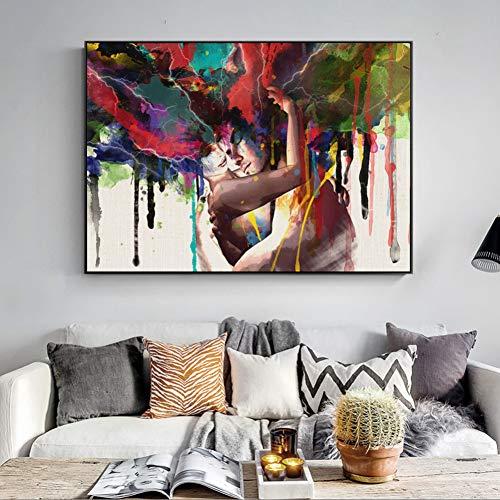 EBONP Leinwanddruck Plakat Leinwand Malerei Wand dekorative Abstrakte Leinwandbilder Wandbilder Liebespaar Moderne Wandposter Und -drucke Porträt Leinwandbilder Für Wohnzimmer Bild-28x40inch