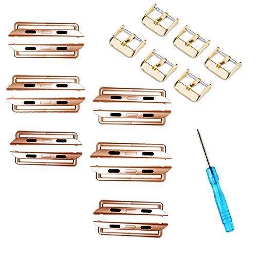 ONELANKS - Juego de conectores de correa de reloj (metal, reemplazable, compatible con correas iWatch serie 5, 4 (44 mm), serie 3, 2, 1, 42 mm, oro rosa (paquete de 6)