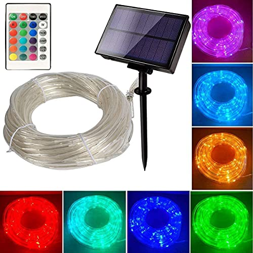 Solar Rope Lights 33ft 16 Colors Changing Outdoor 100 LED Remote Twinkle Rope Tube Fairy Lights Rope Tube Lights Christmas Wedding Party Yard Waterproof(Rope Lights Multicolor)