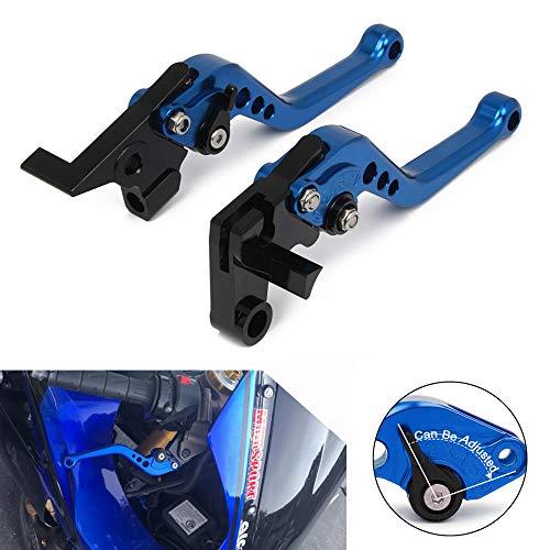 Leviers d'embrayage de frein courts réglables pour Yamaha FZ6 FAZER FZ6R FZ8 MT-07 FZ-07 FZ1 FAZER XJ6 DIVERSION MT-09/SR/FZ-09 XSR 700 ABS XSR 900 ABS XV 950 Racer,Bleu