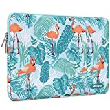 MOSISO Laptop Sleeve Bag Compatible with 13-13.3 inch MacBook Pro, MacBook Air, Notebook Computer, Vertical Style Water Repellent Polyester Protective Case Cover with Pocket, Flamingo Palm Leaves