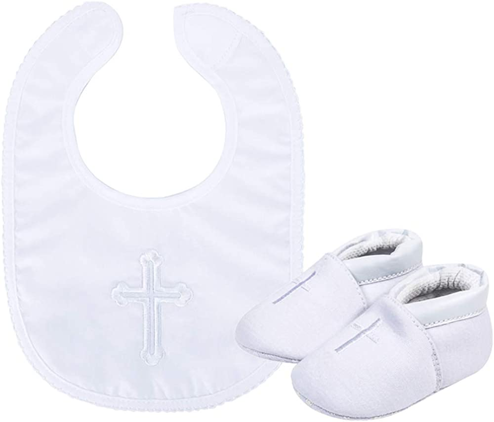 ESTAMICO Baby Newborn Soft Sole Shoes with White Embroidered Bib or Hat Set