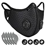 ETGLCOZY Dust Mask with 5 Activated Carbon Filters, Dustproof Respirator Breathing Mask for Pollen Allergy Woodworking Mowing Running Cycling Outdoor Activities (Black)