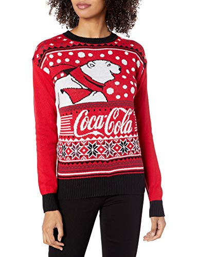 Coca-Cola Women's Ugly Christmas Sweater, Bear/Red, Large