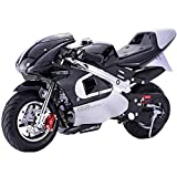 Superrio New Gas Mini Pocket Bike Motorcycle 40cc 4-Stroke Engine (Black)