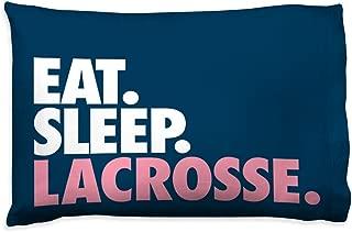 Eat Sleep Lacrosse Pillowcase | Girls Lacrosse Pillows by ChalkTalk Sports | Navy