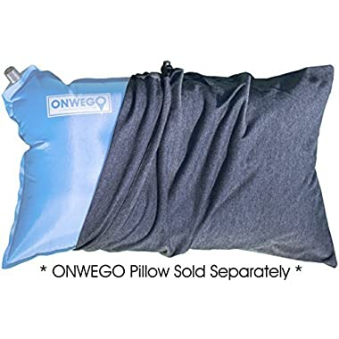 ONWEGO Pillowcase for Inflatable Travel and Camping Pillows, 100% Cotton, Handcrafted, Fits 12in x 20in Pillows (Charcoal Gray)