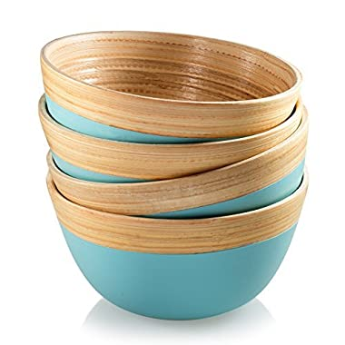Francois et Mimi Pure Bamboo Small Bowl Set with Natural Rim, 4  Diameter, Set of 4