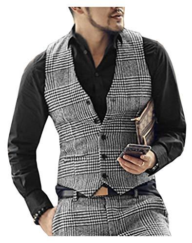 Heren pak Vest Slim Houndstooth Waistcoat Zakelijke Groomman voor Bruiloft Vest