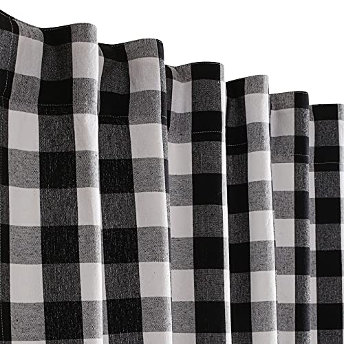 Farmhouse Curtain in Gingham Plaid Check Fabric 50x63 Black White, Cotton Curtains, 2 Panels Curtain,Tab Top Curtains, Room Darkening Drapes, Curtains for Bedroom, Curtains for Living Room, Set of 2