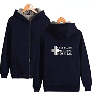 U CAN Grey's Anatomy Hoodies Unisex Long Sleeve Fleece Thick Zipper Hooded Sweater Pullover