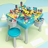 Arkmiido La Mesa de Actividades multipropósito niños Construye y Pesca, Cena, Mesa de Juego y Aprendizaje para niños con 1 Silla, Incluye Bloques de 200 Piezas.