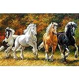 5D Pintura de Diamantes niños Adultos por Numero kits Cuatro caballos Bordado de Diamante Art Craft de cruz Punto lienzo Picture Manualidades para Decoración de Pared(80x120cm/32x48in Round drill)
