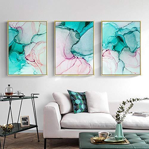 Elmmart marmer groen roze canvas schilderkunst van wand Pop Art Poster inkt abstract schilderij foto's woonkamer 40 x 60 cm x 3 zonder lijst