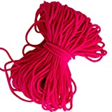 Pink Neon Round Elastic String Cord Earloop Bands for Face Masks Making Supplies Sewing Craft Project Bracelet String Trim for Crafting Thin Soft & Stretchy 20YARD