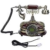 Telefono Fisso Vintage, Telefono Fisso Domestico Stile retrò, quadrante Rotondo Telefono cablato Ufficio Aziendale Telefono Fisso Desktop, Telefono da Tavolo DTMF e FSK Telefono Vintage per Soggiorno