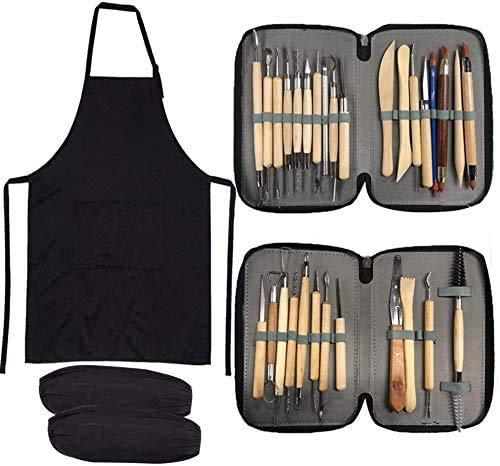 YZNlife Modellierwerkzeuge Ton-Werkzeuge, 30Pcs Clay Werkzeug Keramik Schnitzen Clay Tool, Doppelseitige Sculpting Werkzeug Töpferwerkzeug, inkl. Aufbewahrungstasche Schürze Schutzärmel