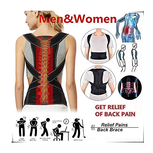 Wanzi2 Adjustable Posture Corrector Back Shoulder Support Correct Brace Belt Men Women Clavicle Support and Providing Pain Relief from Neck,Back and Shoulder Posture Orthosis (Black, L)
