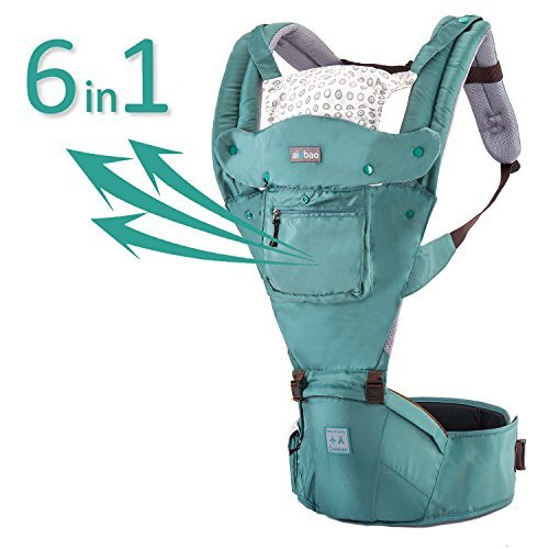 Kangaroo Baby Sling Carrier Backpack, Ergonomic Breathable Forward Facing Child Carrier Sling for Infants and Toddler (3-36 Months), Including Detachable Hood Front and Side Pocket (Mint Green)