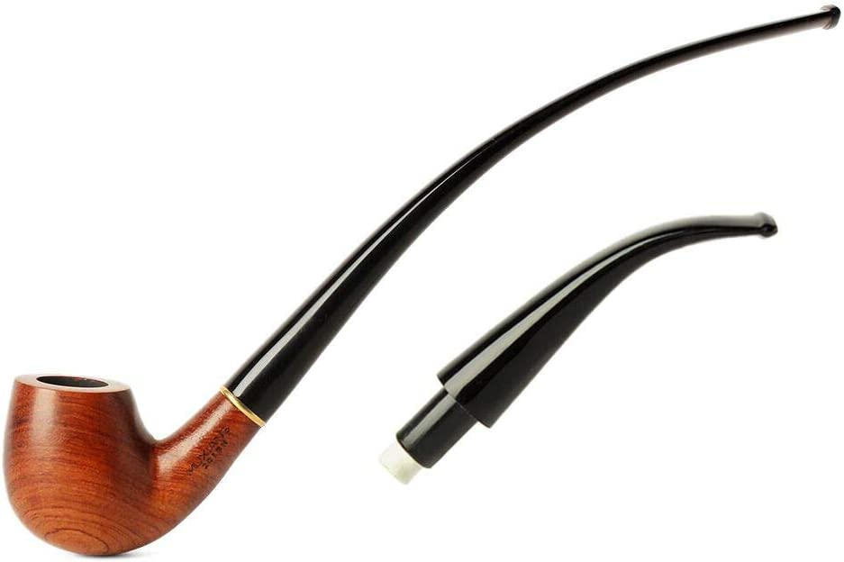 MUXIANG Churchwarden Tobacco Pipes with Repl Import Two Mouthpiece security Stem