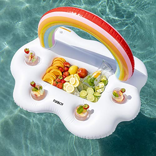 FUNBOY RBCDC17 Giant Rainbow Cloud Bar Pool Float Inflatable