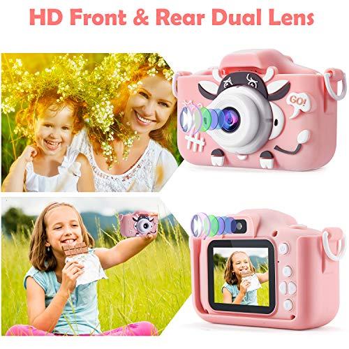 PELLOR Kamera Kinder, Digitalkamera Videokamera mit 20MP/ 2 Inch Bildschirm/ 1080P HD/32G Speicherkarte, fotoapparat Kinder Geschenk für 3-10 Jahre Jungen Mädchen(Rosa)