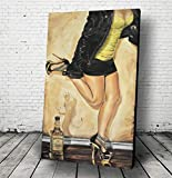 JEREMY WORST'Dancing with the Devil' Whiskey Painting Canvas Wall Art Poster Sexy NSFW Jack daniels gifts Leather Jacket Ready to Hang Decanter woman bottle Tennessee Honey sign shirt