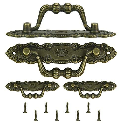 KBNIAN Tiradores Antiguos para Cajones, 4 Piezas de Tiradores para Cajones Vintage de Bronce Clásico, Tiradores para Muebles Antiguos de Aleación de Zinc con 8 PCS Tornillos M2 para Muebles Cajones