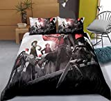 Tres piezas de funda de edredón for el ataque en Titán scout regimiento / scout Legión pared de la ciudad, animado 3D edredón almohada, 100% poliéster, suave y cómodo, ropa de cama de Otaku del animad
