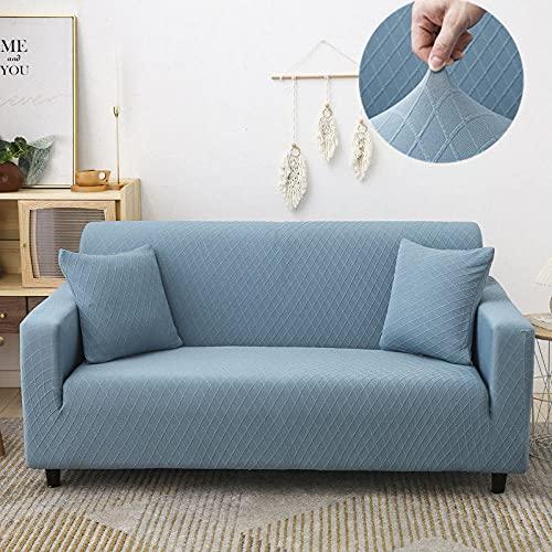 Funda de Sofá 3 Plazas Elasticas Cubierta para Chaise Antideslizante Poliéster Protector para Sillón Salon Sofas Lavable Antiácaros Antiarrugas, Azul (3 Plazas)
